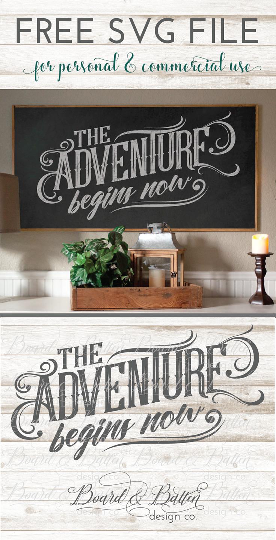 Free SVG File - Adventure Begins Now