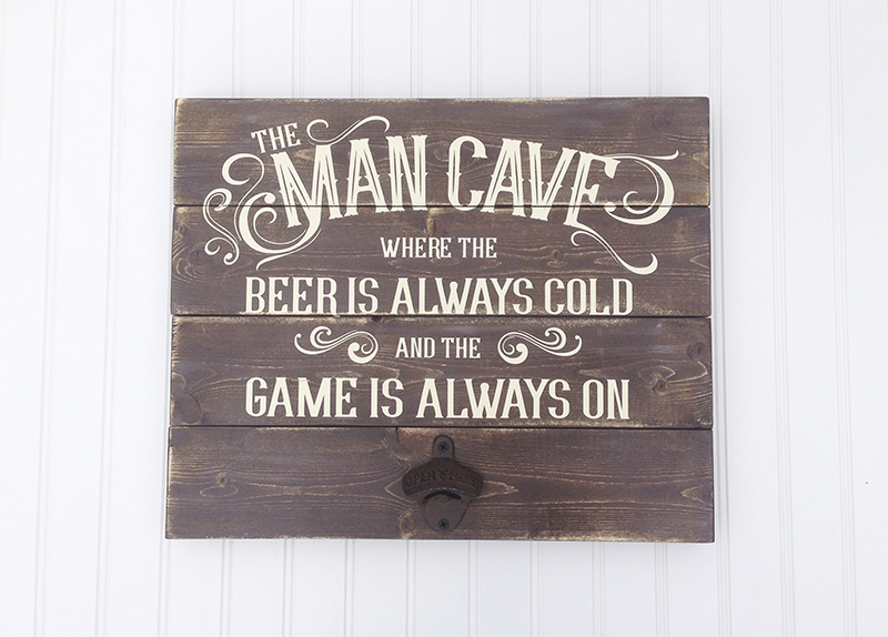 "Project Idea: DIY ""Man Cave"" Sign with Bottle Opener"