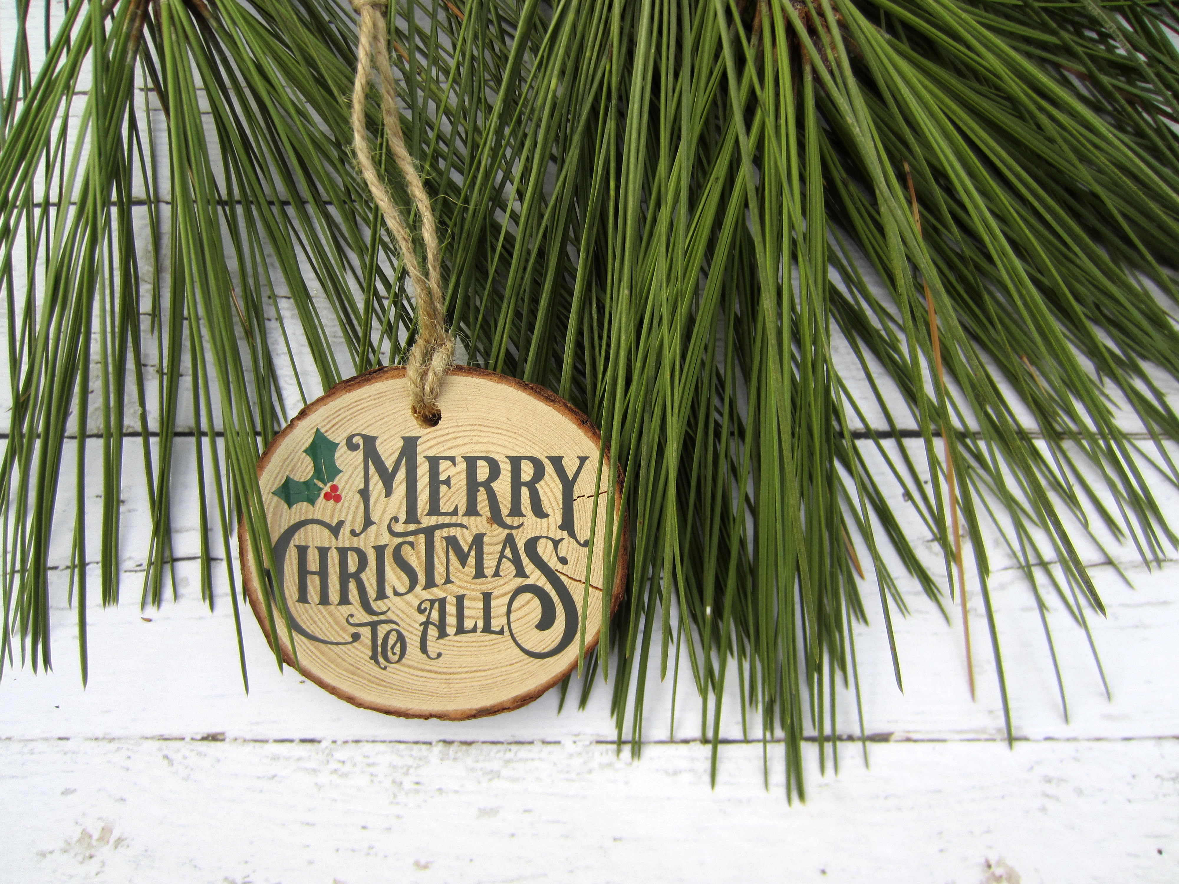 Merry Christmas To All Wood Slice Ornament A Silhouette